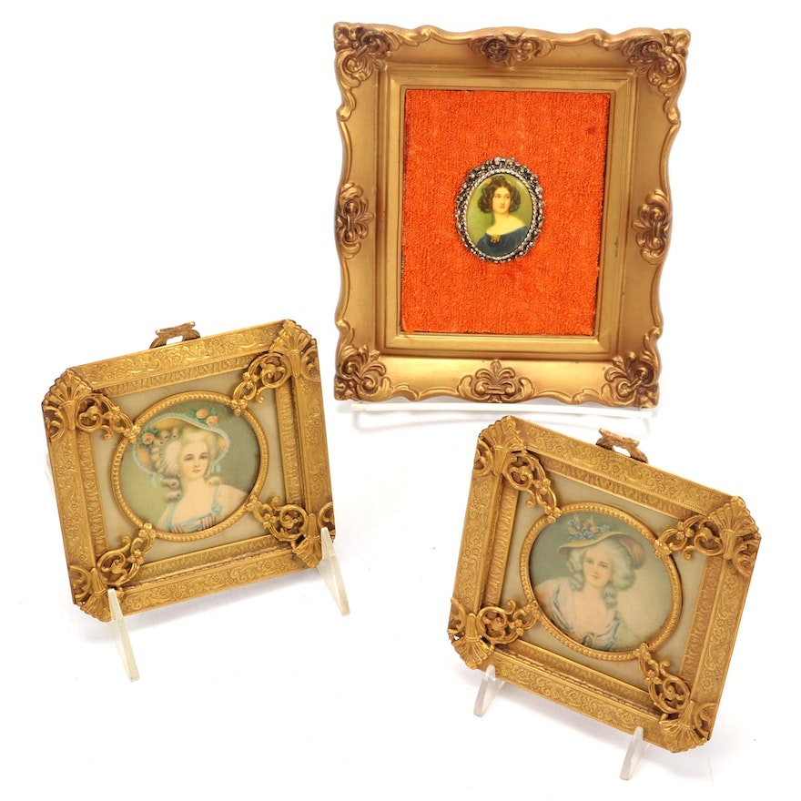 Victorian Revival Framed Miniature Offset Lithograph Portraits