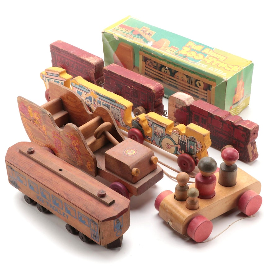 Wooden Train Toys Including Horse Shoe Toys Train, Vintage and Antique