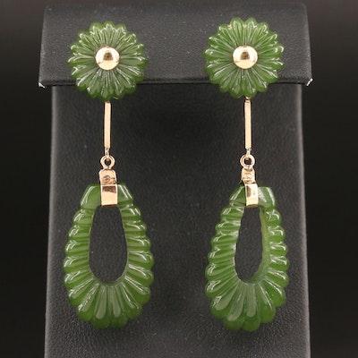 10K Carved Nephrite Drop Earrings