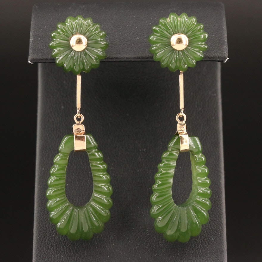 10K Carved Nephrite Drop Earrings