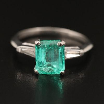Platinum 1.90 CT Emerald and Diamond Ring