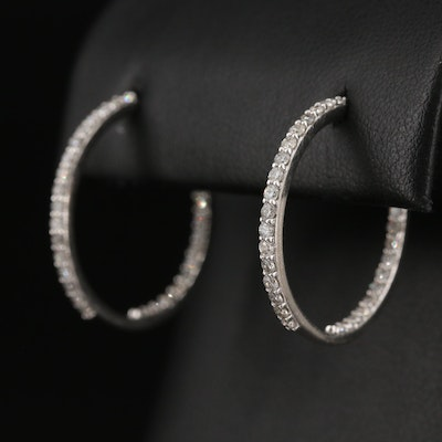 14K 2.17 CTW Diamond Inside-Out Hoop Earrings