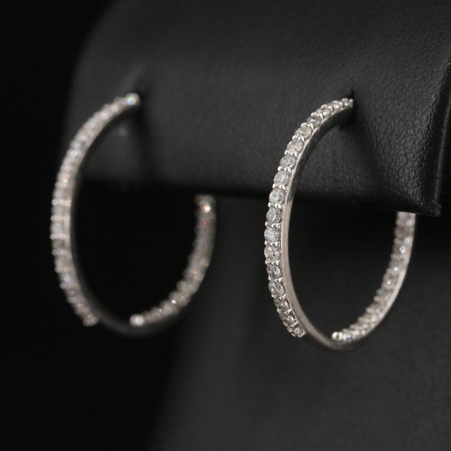 14K 2.17 CTW Diamond Inside-Out Hoop Earrings