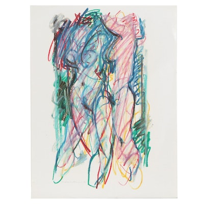 Jack Meanwell Abstract Pastel Drawing of Figure Study, 1980