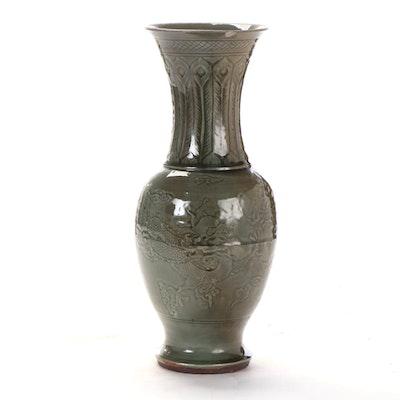 Chinese Dragon and Phoenix Motif Celadon Glaze Stoneware Vase