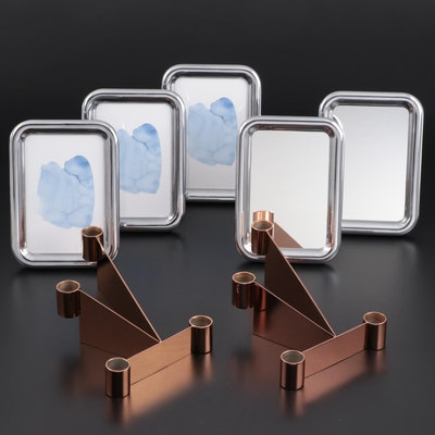 """Georg Jensen """"Urkiola"""" Stainless Candle Holders and """"Tableau"""" Mirrors and Frames"""