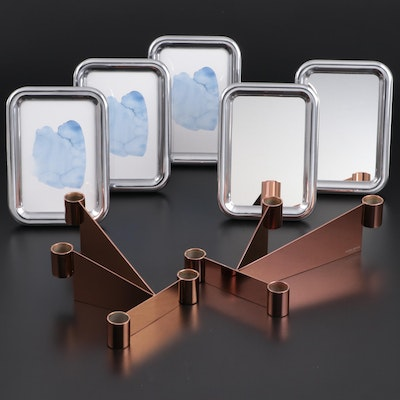 "Georg Jensen ""Urkiola"" Stainless Candle Holders and ""Tableau"" Mirrors and Frames"