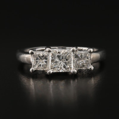 Platinum and 14K 1.40 CTW Diamond Three Stone Ring
