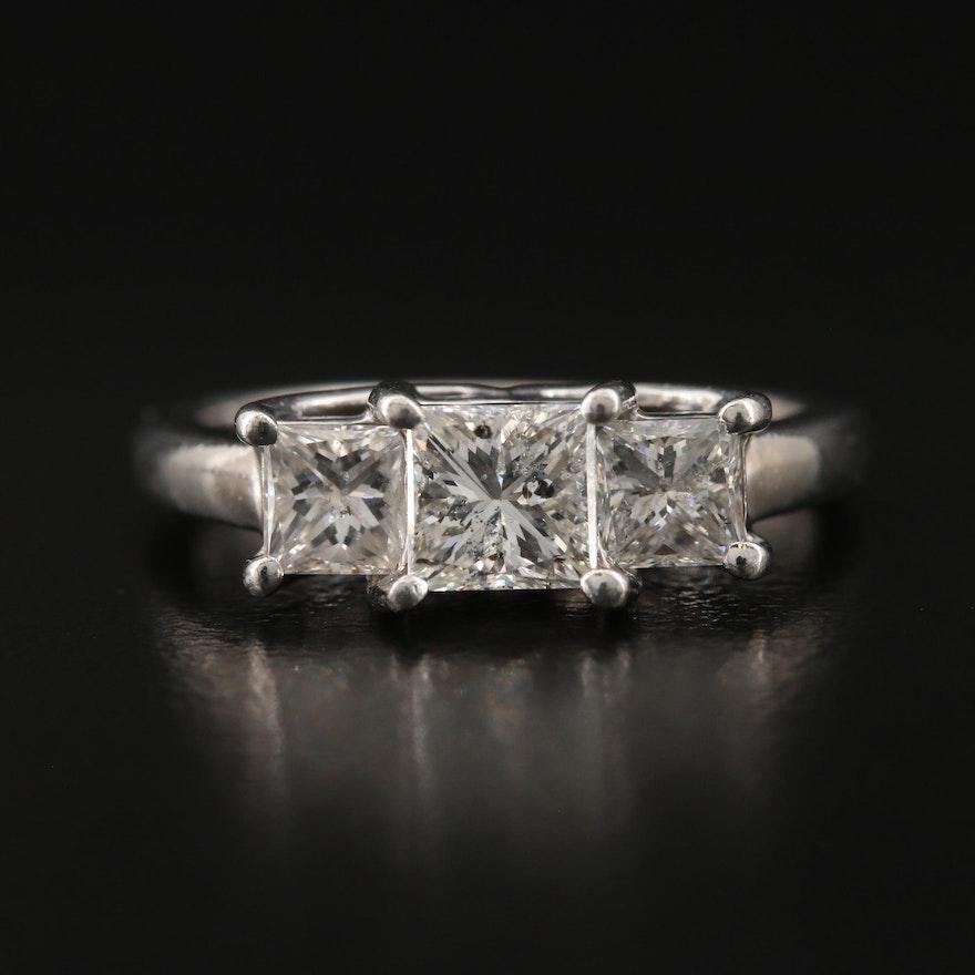 Platinum and 14K 1.40 CTW Diamond Three Stone Ring