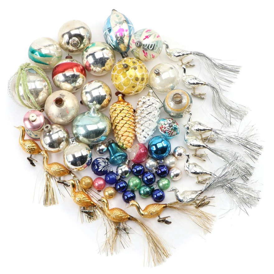 Blown Glass Christmas Ornaments, Mid-20th Century