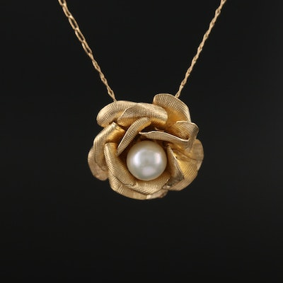14K Pearl Blooming Flower Pendant Necklace