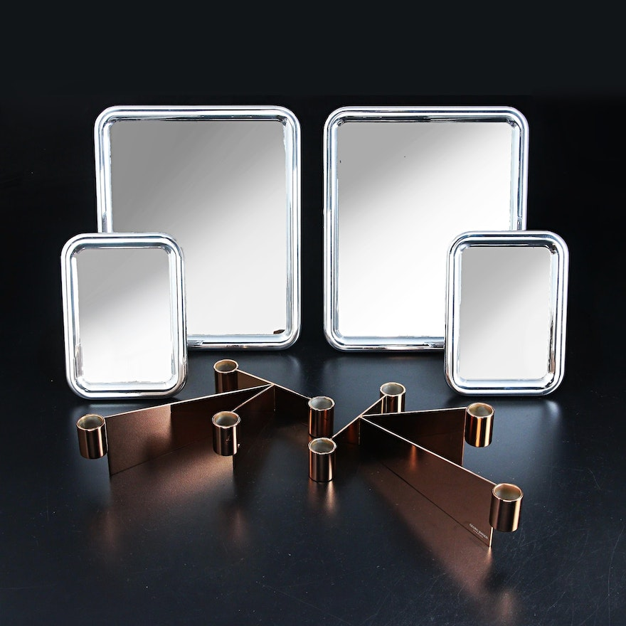 "Georg Jensen ""Tableau"" Tabletop Mirrors with ""Urkiola"" Stainless Candle Holders"
