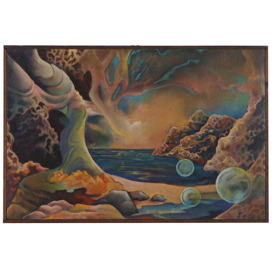 Surrealist Oil Painting of Coastal Landscape, Late 20th Century