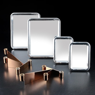"""Georg Jensen """"Tableau"""" Tabletop Mirrors with """"Urkiola"""" Stainless Candle Holders"""