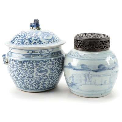 Chinese Blue and White Ceramic Ginger Jar and Camcheng