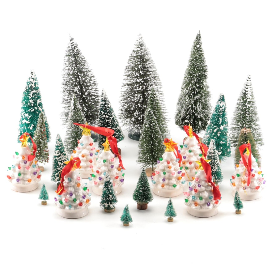 Ceramic Illuminated Christmas Tree Ornaments with Brush Tree Forest Display
