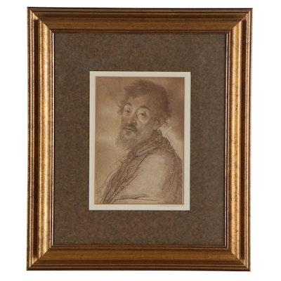 Lithograph Portrait after Francesco Bartolozzi of Bearded Man, Mid-20th Century