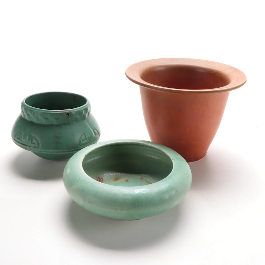 Roseville Vase and Other Art Pottery Flower Pots, Early to Mid 20th Century