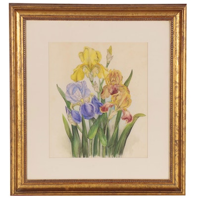 Genie Allgood Watercolor Painting of Irises, Late 20th Century