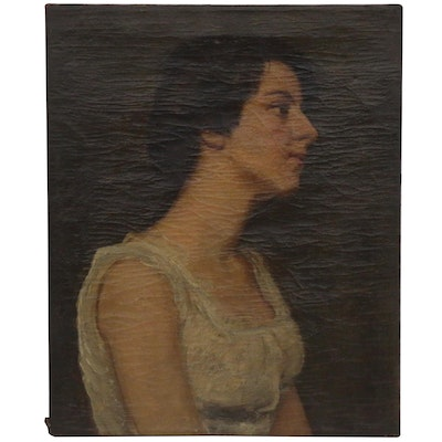 Portrait Oil Painting of Young Woman, Late 19th Century