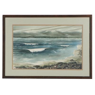 K. Hansen Coastal Watercolor Painting of Crashing Waves, Late 20th Century