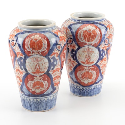 Pair of Japanese Imari Baluster Vases, Late 19th to Early 20th Century