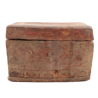 Chinese Han Style Painted and Incised Pottery Storage Box and Cover