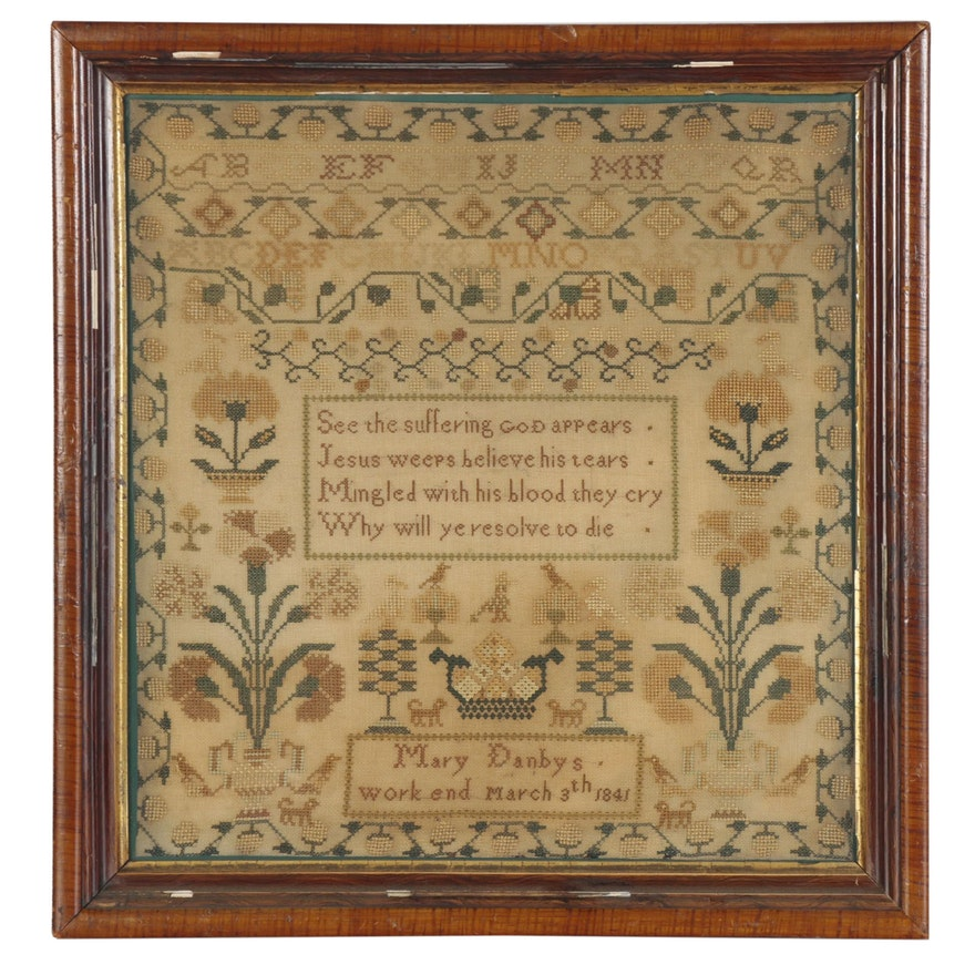 Mary Danby Cross-Stitch Sampler with Verse and Floral Motifs, 1841