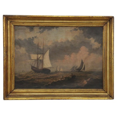 Nautical Seascape Oil Painting, Late 19th Century