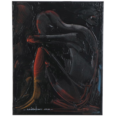 "Abiola Idowu Mixed Media Painting ""Rest I,"" 2021"