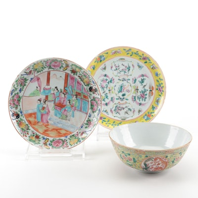 Chinese Rose Canton and Famille Jaune  Porcelain