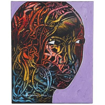 "Abiola Idowu Mixed Media Painting ""Beautiful Angel,"" 2021"