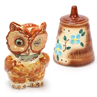American Ceramic Hand-Painted Owl and Barrel Cookie Jar, Mid-20th C.