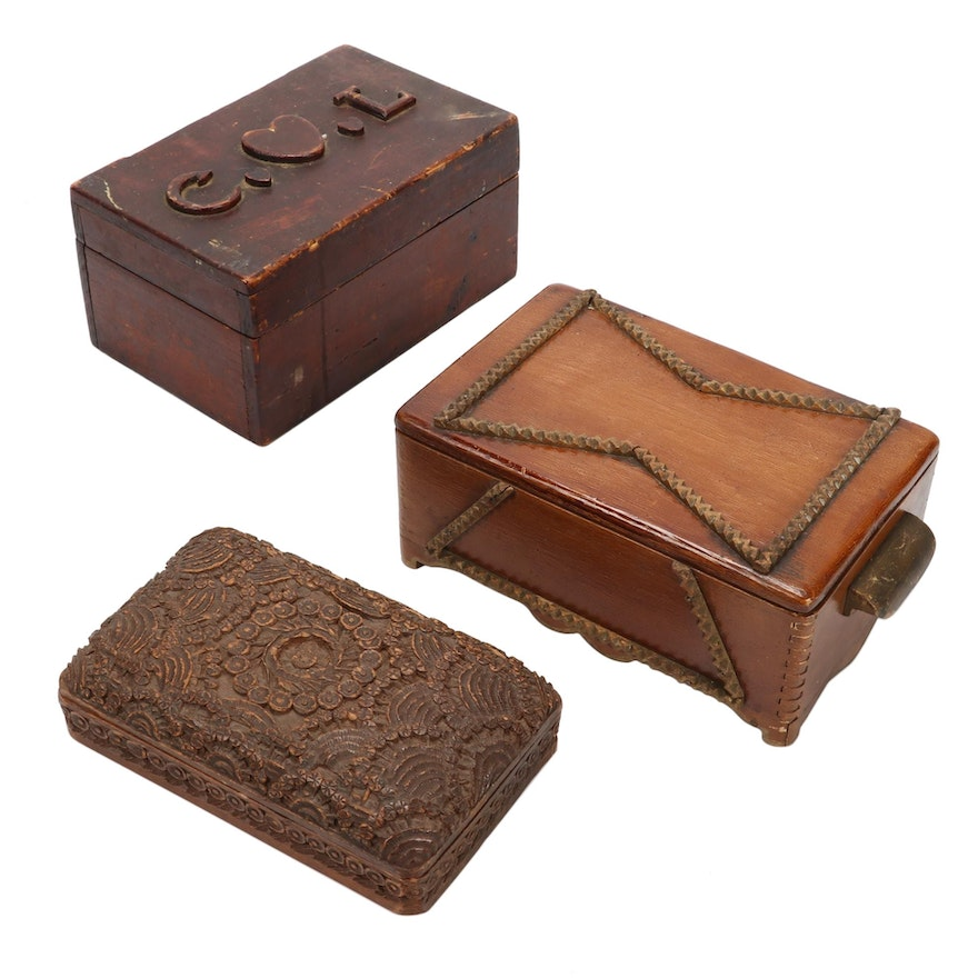 Hand-Carved Wood Keepsake Boxes Including Tramp Art, Early to Mid 20th Century