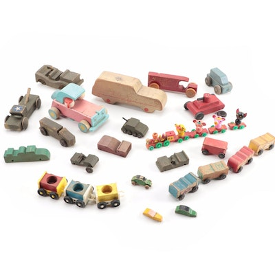 Fisher-Price and Other Wooden Cars and Trains, Mid to Late 20th Century
