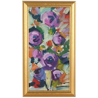 "Jose Trujillo Oil Painting ""Roses,"" 2010"