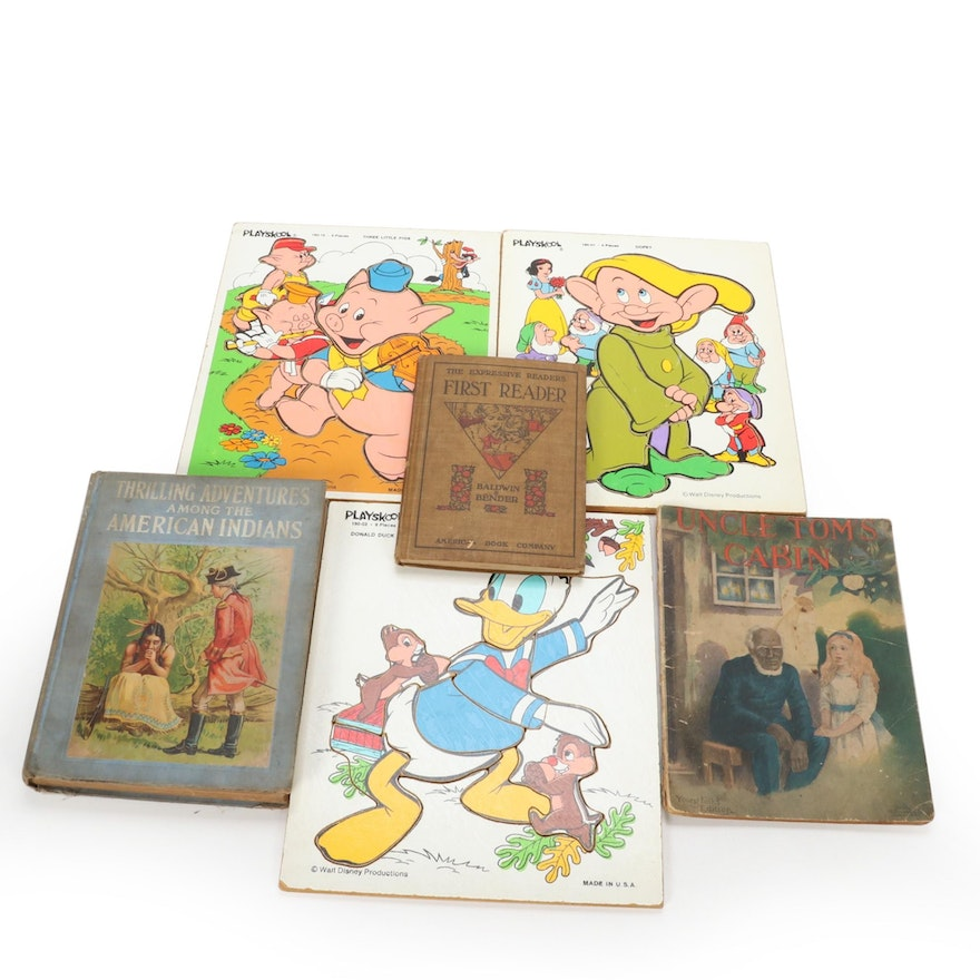 Children's Books with Disney Character Puzzles, Early/Mid 20th Century