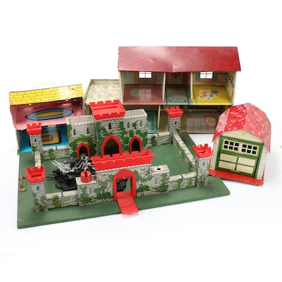 Aluminum Doll Houses, Garage, and Castle with Accessories, Mid-20th Century