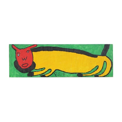 Ruby C. Williams Folk Art Acrylic Painting of Animal