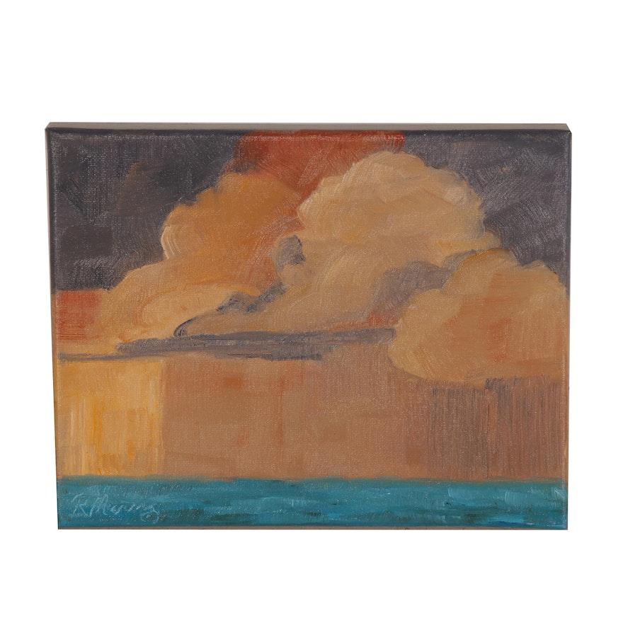 "Rebecca Manns Seascape Oil Painting ""Tangerine Rains,"" 2020"