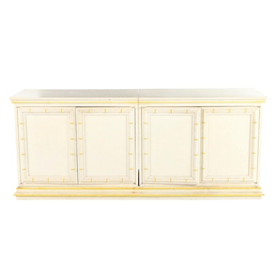 Modernist Paint-Decorated and Faux-Bamboo Credenza, Late 20th Century