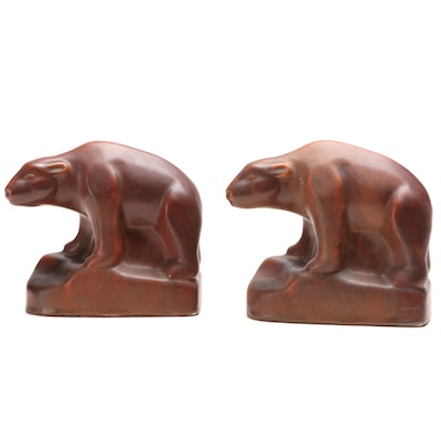 Ceramic Bear Shaped Bookends, Mid-20th Century