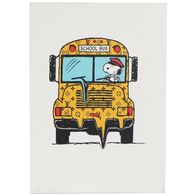 Death NYC Graphic  Print of Snoopy Driving Lois Vuitton Bus
