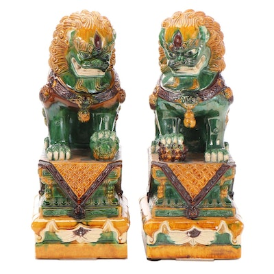 Chinese Sancai Glazed Guardian Lion Figures