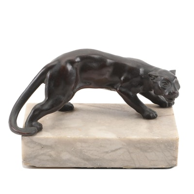 Cast Bronze Crouching Cougar Figurine on Marble Base