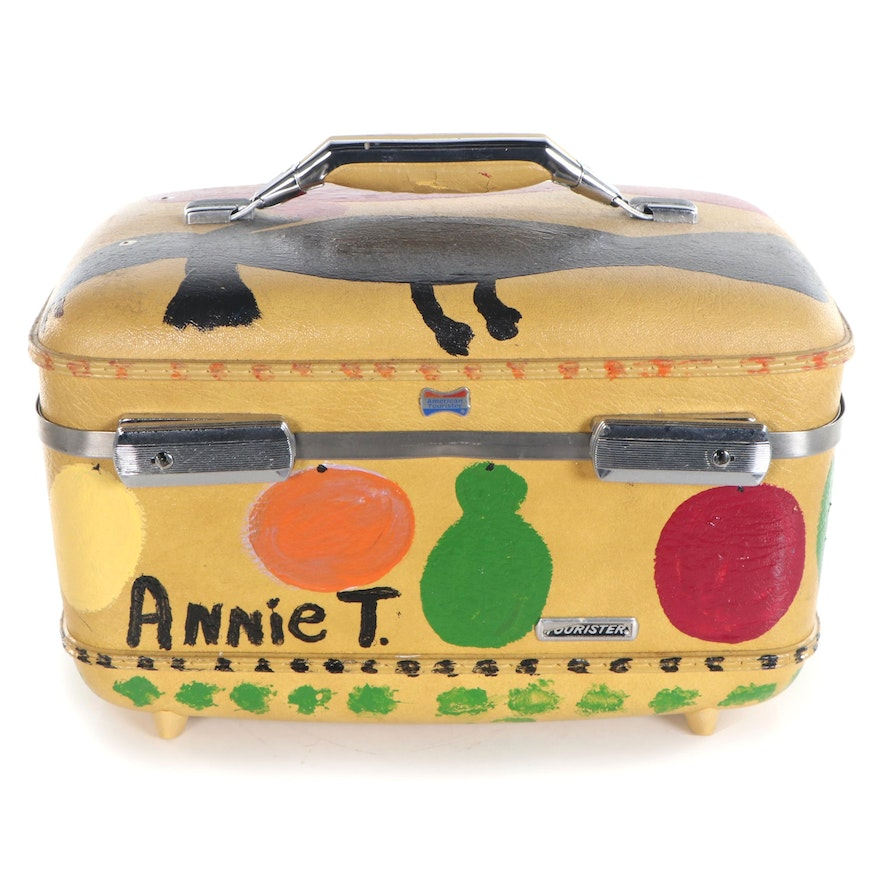 Annie Tolliver Folk Art Acrylic Painting on American Tourister Train Case