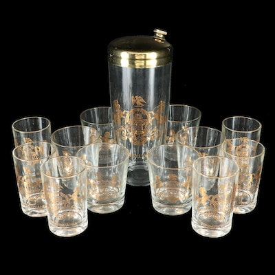 Cocktail Shaker and Rocks Glasses with Pennsylvania Coat of Arms, Mid-20th C.