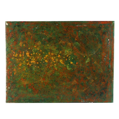 Oil Painting of Abstract Expressionist Composition, Mid to Late 20th Century