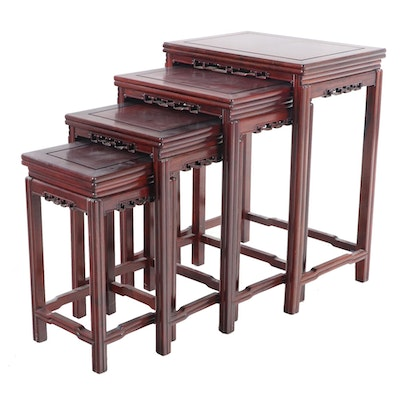 Set of Four Chinese Carved Rosewood Graduated Side Tables