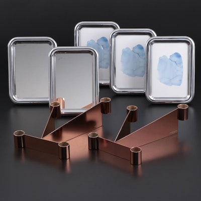 "Georg Jensen ""Urkiola"" Stainless Candle Holders with Mirrors and Frames"